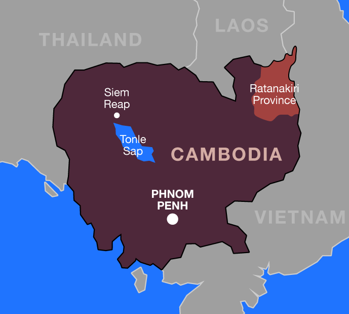 Cambodia map showing the location of Ratanakiri Province in the northeast